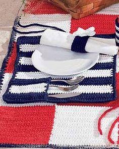 Des idées...& des mains !: Set de table, de pique-nique au crochet (traduction)