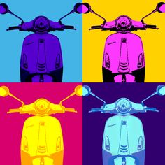 """Pop art is a way of loving thing."" Today, 87 years ago, Andy Warhol was born: American sculptor, painter, actor, director… in a word, an artist. #Vespa #PopArt"