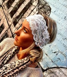 White Stretchy Lace headband by ThreeBirdNest