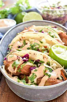 Baja Fish Tacos in serving dish Sauce Recipes, Fish Recipes, Seafood Recipes, Mexican Food Recipes, Cooking Recipes, Healthy Recipes, Delicious Recipes, Healthy Food, Recipies