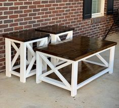 Awesome Diy Coffee Table Design Ideas That You Must Try Farmhouse Coffee Table Sets, Coffee Table End Table Set, End Table Sets, Coffee Table Design, Diy Table, Rustic Coffee Tables, Diy End Tables, Coffee Table Plans, Farmhouse Side Table