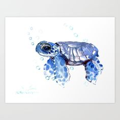 Collect your choice of gallery quality Giclée, or fine art prints custom trimmed by hand in a variety of sizes with a white border for framing. #turtleart # nurseryart #nurseryprint