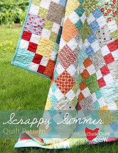 "Scrappy Summer Free Quilt Pattern  Fabulous way to use up jelly rolls and charm squares (cut down to 4 1/2"") and scraps galore."