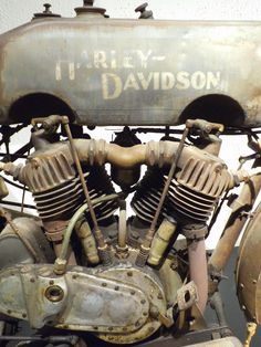 Engine and gas tank of an unrestored 1916 Harley-Davidson
