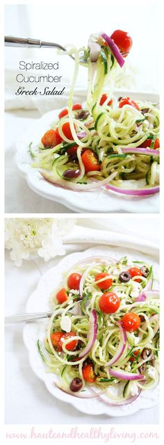 Spiralized Greek Cucumber Salad | Haute & Healthy Living