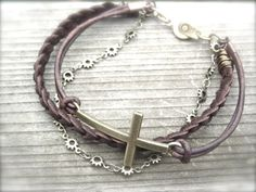 Cross bracelet with braided leather and chain by Kitschish on Etsy, $25.00