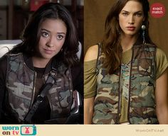 Emily's army camo vest on Pretty Little Liars. Outfit Details: http://wornontv.net/16899