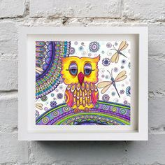 Owl Dragonflies Art, Zentangle Paisley from DHANAdesign on Etsy