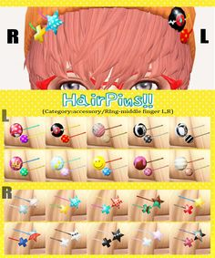 imadako:  [HairPins!! L and R sets.]DOWNLOAD/MediaFire mesh by me. for male and female.category:Accessory/Ring. *M,F,U is same hairpins.these have different positions.You can choose a pin in the favorite position,to match hair style. You can use it as you want.please enjoy it. 色追加したり直したりなんでもお好きなようにお使いください。 for recolor yourself simple PSD file./DOWNLOAD *re-color and upload OK.include this mesh,OK.   *no need report to me. *if possible,please credit me(imadako/http://imadako.tumblr.com/)…