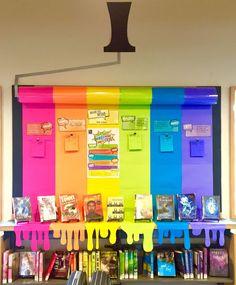 classroom decor 20 Rainbow Bulletin Boards for a Colorful Classroom - WeAreTeachers School Displays, Classroom Displays, Classroom Organization, Book Displays, Classroom Window Display, School Display Boards, Teen Library Displays, Reading Corner Classroom, Reading Library
