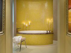 Bright yellow wall tile at a Beasley & Henley west coast condo. Interior Design, Decor #yellow #tile #bathtub #interior design