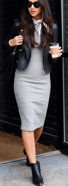 Grey Sweater Dress and black leather motorcycle jacket | Not Your Standard #grey