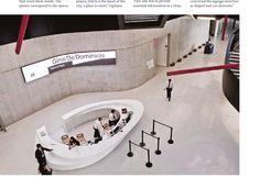 MAXXI National Museum of XXI Century Arts Wayfinding and Environmental Graphics Lobby Reception, Reception Counter, Reception Design, Reception Areas, Bar Counter, Environmental Graphic Design, Environmental Graphics, Zaha Hadid, L Office