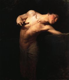 This is the painting, Narcissus, by Gyula Benczúr. It was painted in 1881 and is now hanging in the Hungarian National gallery. I think the artist did a good job at capturing Narcissus' vanity and the way he doesn't seem to care about anything but his looks.
