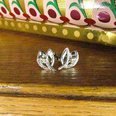 Vintage 14K White Gold and Diamond Earrings