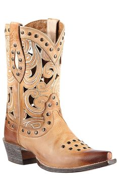 Ariat Paloma Women's Oak Barrel with Scrolling & Studs Snip Toe Cowboy Boot