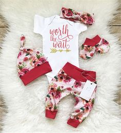 5.59 GBP - 4Pcsborn Infant Baby Girls Worth The Wait Romper Long Pants Outfit Clothes B #ebay #Home & Garden