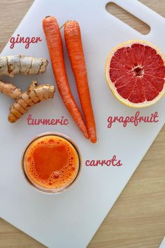Ginger, Carrot, Turmeric and Grapefruit Juice Recipe - a great anti-inflammatory boost with Vitamin C and antioxidants. Healthy Juice Recipes, Juicer Recipes, Healthy Juices, Raw Food Recipes, Healthy Drinks, Healthy Food, Good Smoothies, Juice Smoothie, Smoothie Drinks