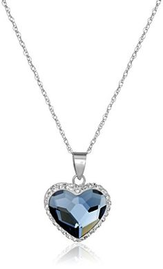 "Sterling Silver Swarovski Elements Two Tone Heart Pendant Necklace, 18"" - http://darrenblogs.com/2016/02/sterling-silver-swarovski-elements-two-tone-heart-pendant-necklace-18/"