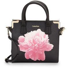 Calvin Klein Saffiano Leather Satchel Crossbody (555 SAR) ❤ liked on Polyvore featuring bags, handbags, shoulder bags, purses, bolsas, black peony, crossbody handbags, calvin klein crossbody, handbag satchel and handbags purses