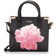 Calvin Klein Saffiano Leather Satchel Crossbody (£140) ❤ liked on Polyvore featuring bags, handbags, shoulder bags, bolsas, purses, black peony, crossbody satchel, handbags crossbody, satchel handbags and calvin klein handbags