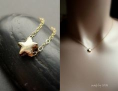 NECKLACE  ,Tiny gold  star , bridesmaid gifts , sisters , best friends , BFF , moms , beach wedding ,mothers day. $22.98, via Etsy.