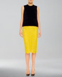 Fuzzy Knit Shell & Lace Pencil Skirt by Michael Kors at Neiman Marcus.