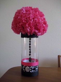 Inexpensive Damask Centerpieces (Almost Finished) ;) : wedding damask centerpieces hot pink and black JcrewPnkBlk Table Baroque, Diy Wedding, Wedding Flowers, Wedding Black, Wedding Ideas, Damask Wedding, Wedding Inspiration, Wedding Fabric, Black Prom