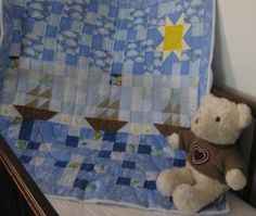 3 Ships a Sailing - a nautical baby quilt for boys