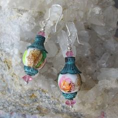 'My Secret Garden' Artisan Vintage Foil Art Glass Bead & Swarovski Crystal Sterling Silver Earrings, 'Magic Lanterns' #122
