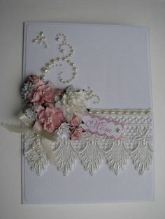 This is a great way to use paper lace made from a border punch. A special piece of real lace gives it a personal touch. That said, this lace is absolutely gorgeous!