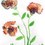 Květiny z odřezků pastelek