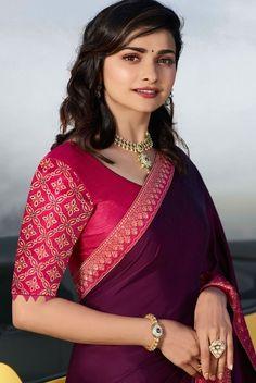 Saree Blouse Neck Designs, Fancy Blouse Designs, Stylish Dress Designs, Saree Hairstyles, Hand Work Blouse Design, Saree Models, Stylish Sarees, Fancy Sarees, Prachi Desai