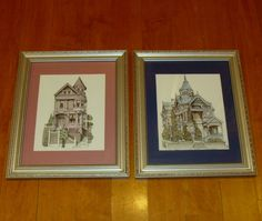 Victorian house lithographs-framed victorian home-san francisco victorian homes-hand watercolored lithograph-debbie patrick water color art by BECKSRELICS on Etsy