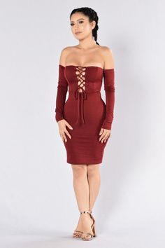 - Available in Burgundy - Off the Shoulder - Lace Up Front - Bodycon - Made in USA - 95% Polyester, 5% Spandex