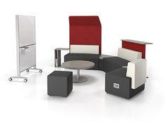 Downtown collaborative furniture offers meeting tables and lounge seating for comfortable and efficient work environments. Innovative Office, Office Furniture Manufacturers, Library Furniture, Lounge Seating, Pouf Ottoman, Office Interiors, Table, Work Spaces, Open Concept