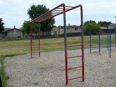 Old School Playground Equipment - Monkey Bars Backyard Swing Sets, Childhood Days, School Memories, Sweet Memories, The Good Old Days, Old School, Old Things, Scale, Playgrounds