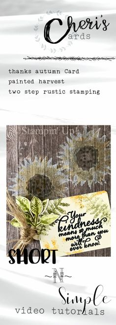 Rustic two step stamping card featuring Painted Harvest from Stampin Up.