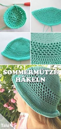 Crochet summer hat - free instructions for a breezy beanie - häkeln - Baby Knits Baby Knitting Patterns, Free Knitting, Free Crochet, Knit Crochet, Crochet Patterns, Crochet Hats, Sombrero A Crochet, Crochet Summer Hats, Knitted Hats