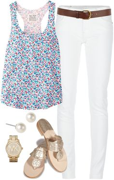 """""""Floral Tank Top"""" by classically-preppy on Polyvore, I love this outfit I would really love to own this"""