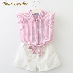 Girls Clothing Sets Casual Kids Clothing Sets Turn-down Collar Butterfly Sleeve Shirt+Shorts Suits
