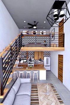 Tiny Loft, Tiny House Loft, Modern Tiny House, Tiny House Living, Small Living, Loft House Design, Loft Interior Design, Small House Design, Small Loft Apartments