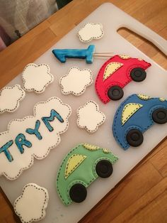 birthday cake toppers. I thought this theme of stitched cars was quite suitable for a one year old