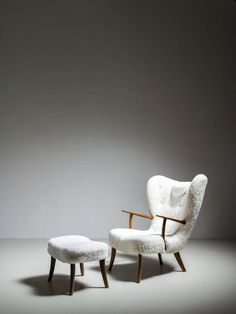 Ib Madsen and Acton Schübel 'Pragh' Lounge Chair with Ottoman, Denmark, 1950s
