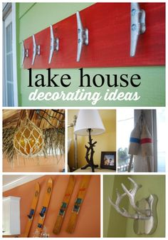 Lake house decor! Ideas to decorate a lake house on a budget, using the hardware store and thrifted items.