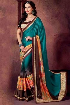Charming Brown and Dark Turquoise Saree