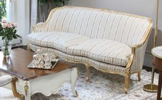 French Louis XV Sofa in Striped Fabric and Gold Leaf Frame