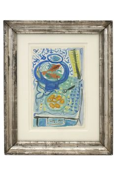 Watercolor and crayon painting of still life with fishbowl by Michel Debieve (1931- ) framed in antique silver gilt frame. France, 1976