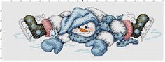 Skating Snowman Counted Cross Stitch Pattern by Berwickbay on Etsy