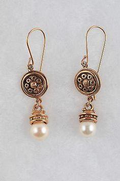 Antique Estate 14k Yellow Gold Pearl Handmade Earrings | eBay